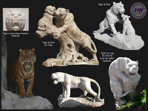 Carved granite Tiger sculpture from J.H. Wagner and Sons Toowoomba and Brisbane, Queensland