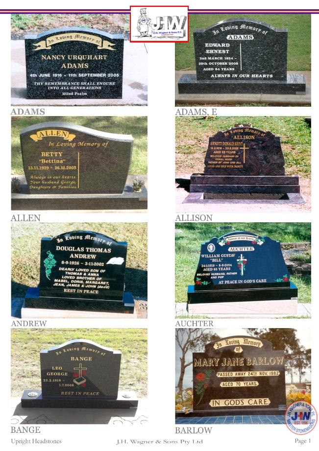 Upright Headstones by J.H. Wagner & Sons Page 1