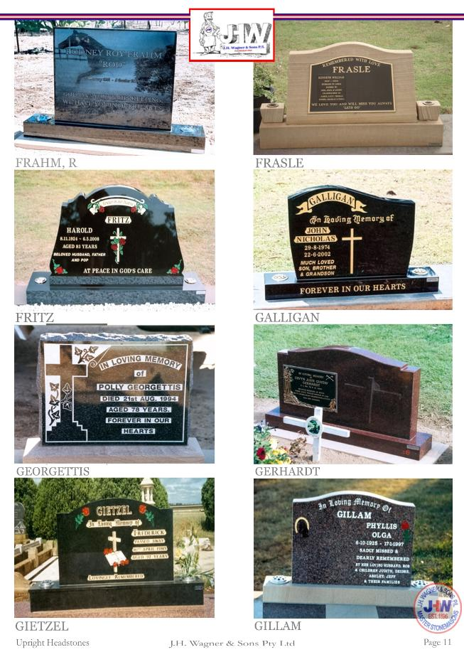 Upright Headstones by J.H. Wagner & Sons Page 11