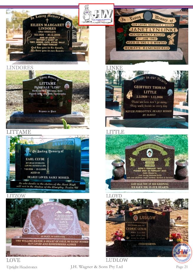Upright Headstones by J.H. Wagner & Sons Page 21