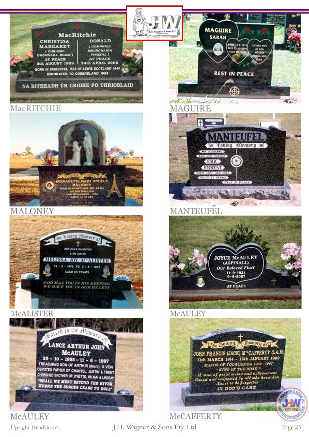 Upright Headstones by J.H. Wagner & Sons Page 23