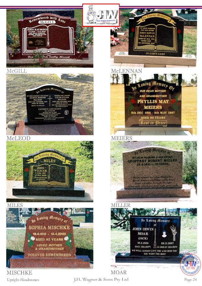 Upright Headstones by J.H. Wagner & Sons Page 24