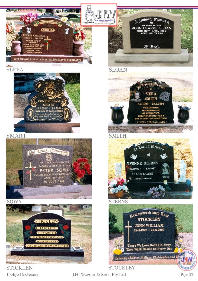 Upright Headstones by J.H. Wagner & Sons Page 33