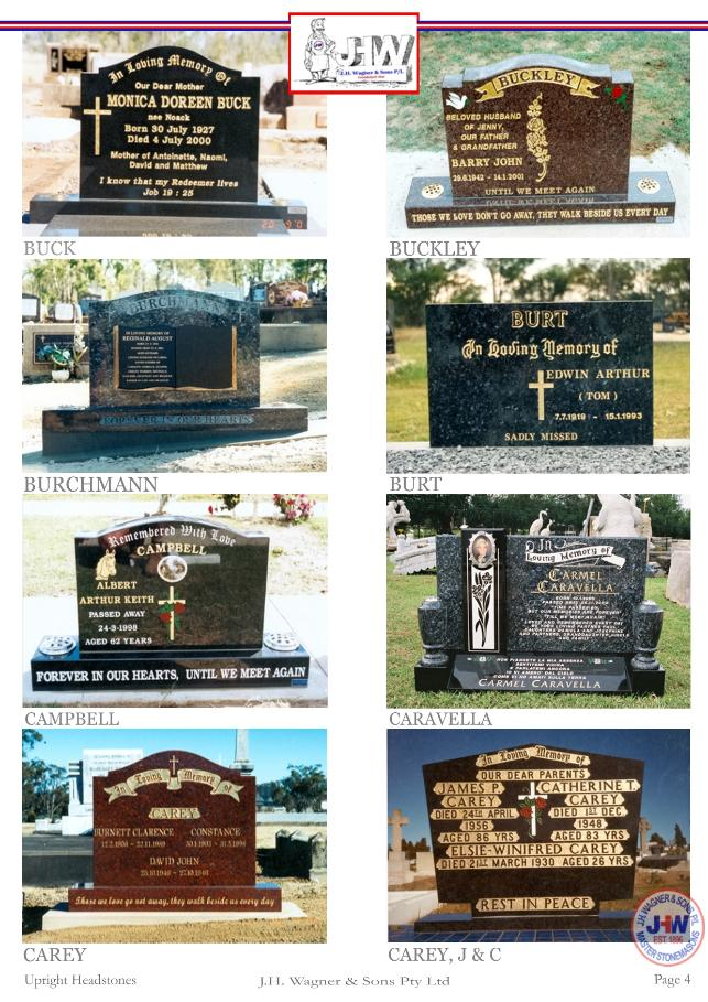 Upright Headstones by J.H. Wagner & Sons Page 4