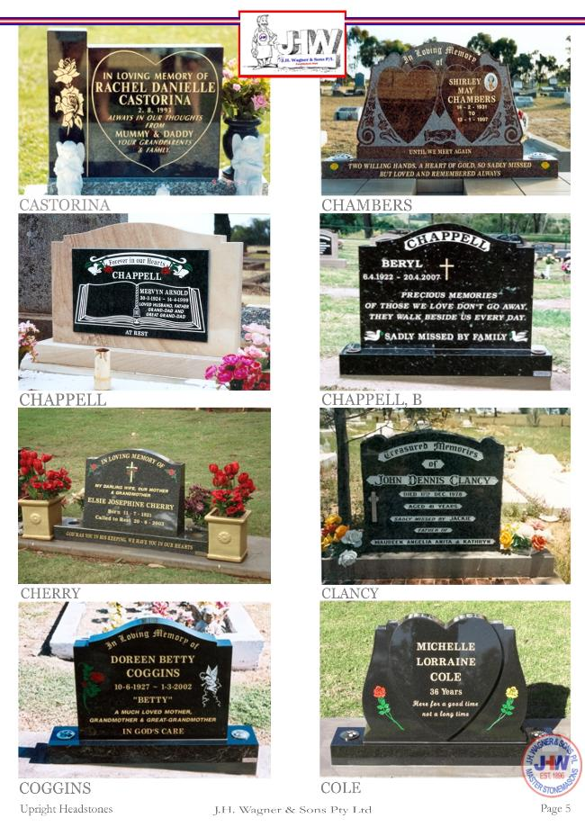 Upright Headstones by J.H. Wagner & Sons Page 5