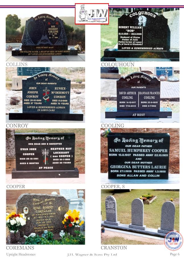 Upright Headstones by J.H. Wagner & Sons Page 6
