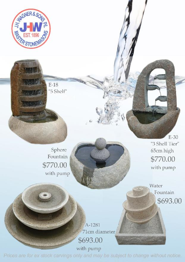 Stone water fountains from J.H. Wagner Toowoomba and brisbane
