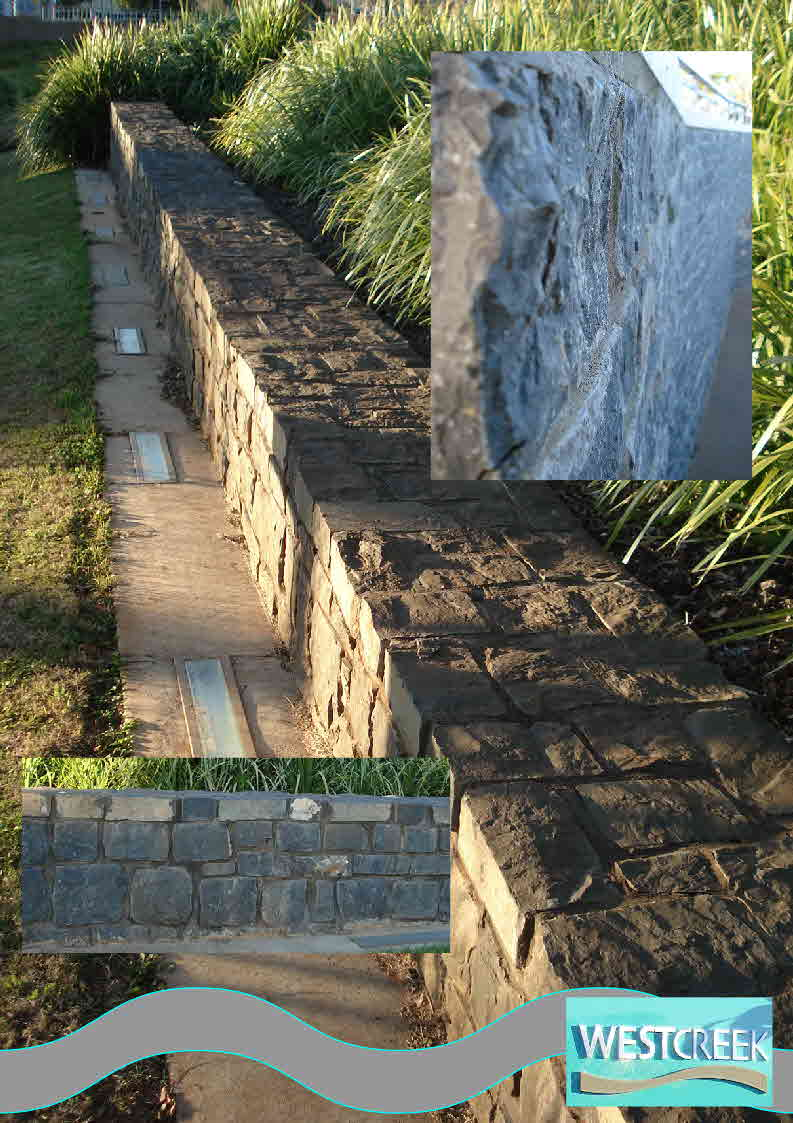 Bluestone Walling at West Creek Parkland Toowoomba by J.H. Wagner & Sons.